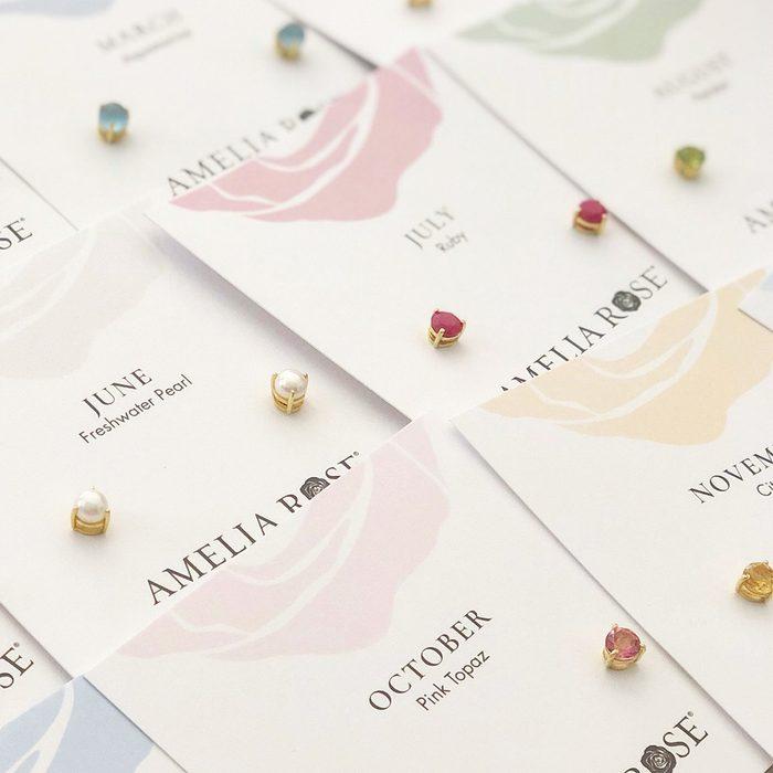 Amelia Rose Birthstone Earrings