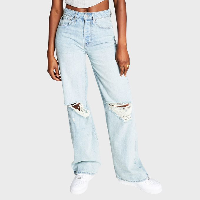 Frayed Cotton Wide Leg Jeans