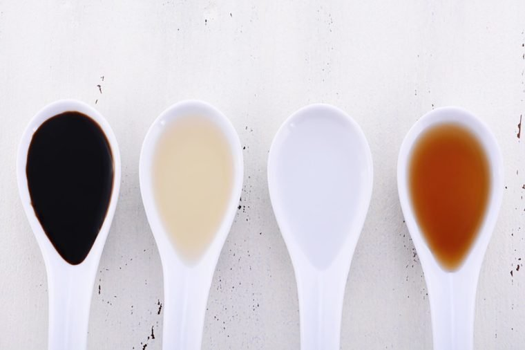 Serving size samples of different types of vinegar including Balsamic, Apple Cider, White and Malt vinegars.