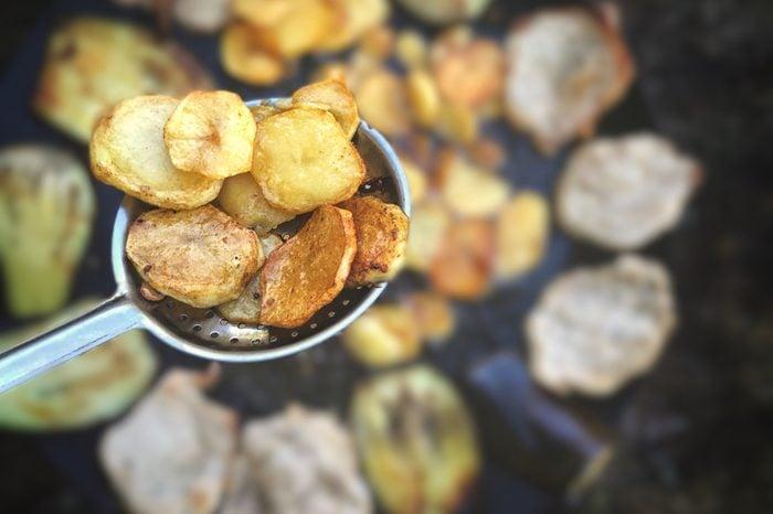 Close-up of fried potato