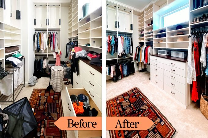Befor And After messy and organized closet
