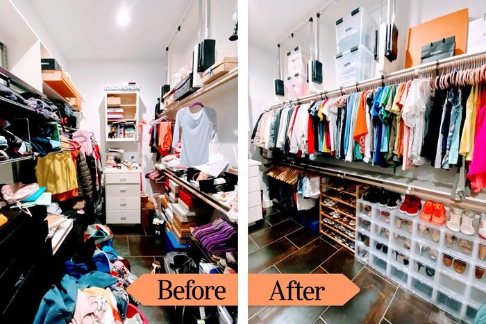 Before And After images showing a messy, cluttered closet next to an organized closet solution with matching hangers and shoe storage