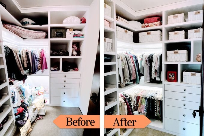 Before And After closet organizing with labeled bins