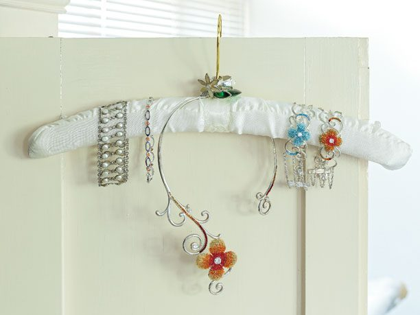 Turn a Padded Coat Hanger Into a Jewelry Holder