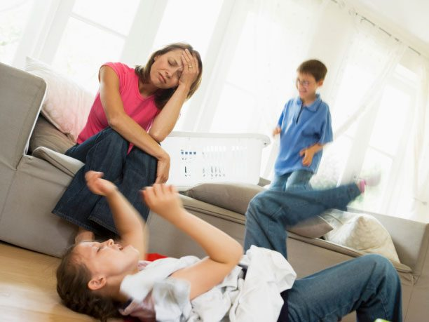 Frustrated woman with kids