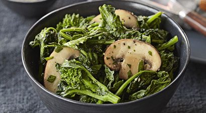 Broccoli Rabe with Sautéed Cremini Mushrooms