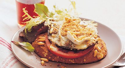 Jumbo Stuffed Portobello Mushrooms With Camembert and Pine Nuts