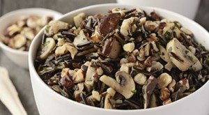 Wild Rice with Two-Mushroom Sauté and Toasted Hazelnuts