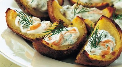 Baked Potato Skins With Smoked Salmon and Fresh Dill