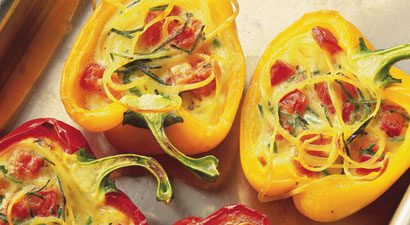 Cheese-Baked Peppers Stuffed With Linguine