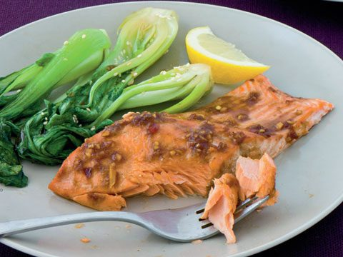 Hoisin-Glazed Salmon With Stir-Fried Bok Choy