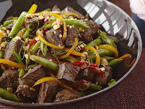 orange and soy-glazed beef stir-fry