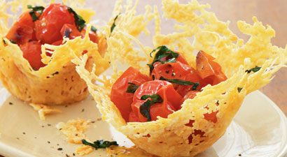 Roasted Cherry Tomatoes in Parmesan Cups