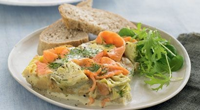 Salmon and Artichoke Open Omelets