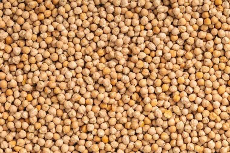 food background from a texture of raw chickpeas close-up