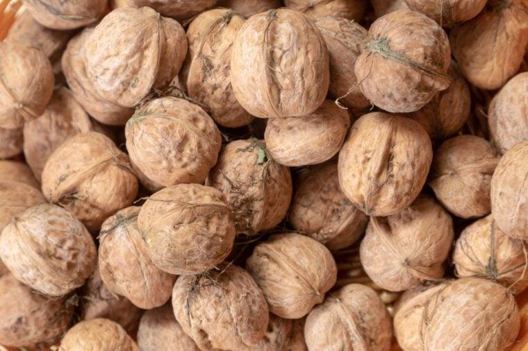 Close up of several walnuts