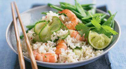 Thai Coconut Rice with Lime and Coriander Prawn Stir Fry
