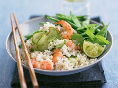 Thai Coconut Rice With Lime and Coriander Prawns