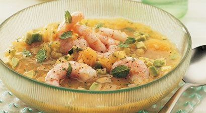 Chilled Melon Soup With Shrimp and Avocado