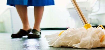mopping bathroom floor