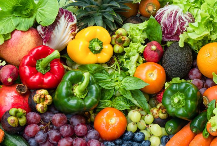 Tropical fresh fruits and vegetables organic for healthy lifestyle, Arrangement different vegetables organic for eating healthy and dieting