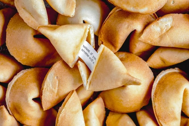 Many Chinese fortune cookie paper with prediction