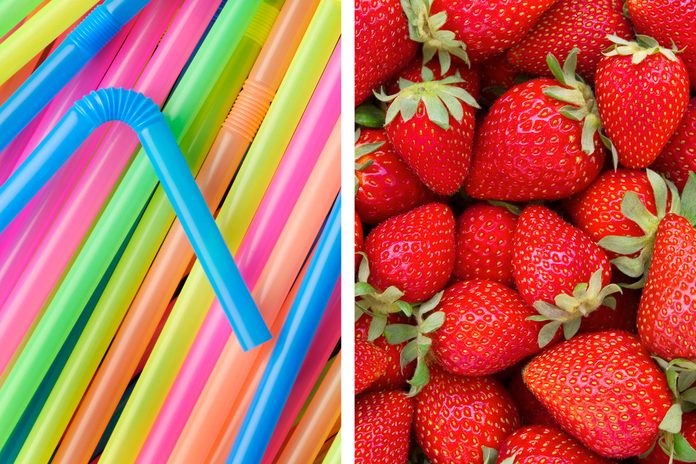 Straws as a strawberry plucker