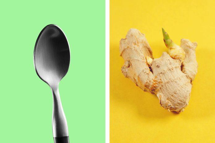 Teaspoon as a ginger peeler