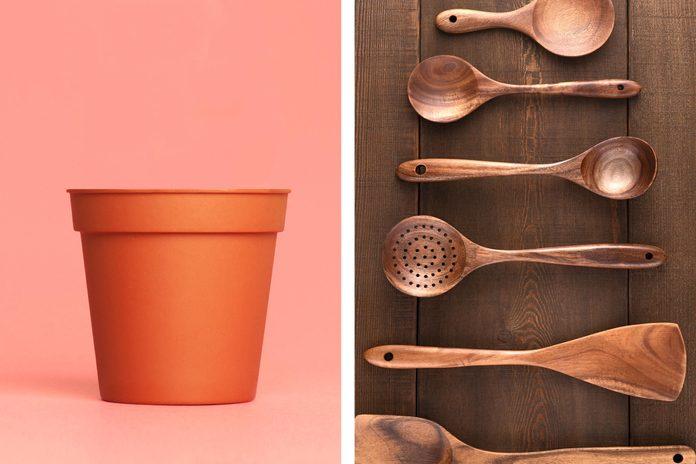 Flowerpots as kitchen tool caddy