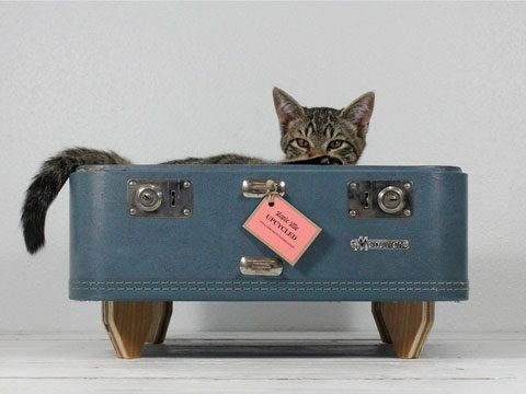 Upcycled Vintage Blue Suitcase Bed