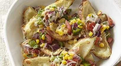 Crisped Potato Skins with Veggie Salsa