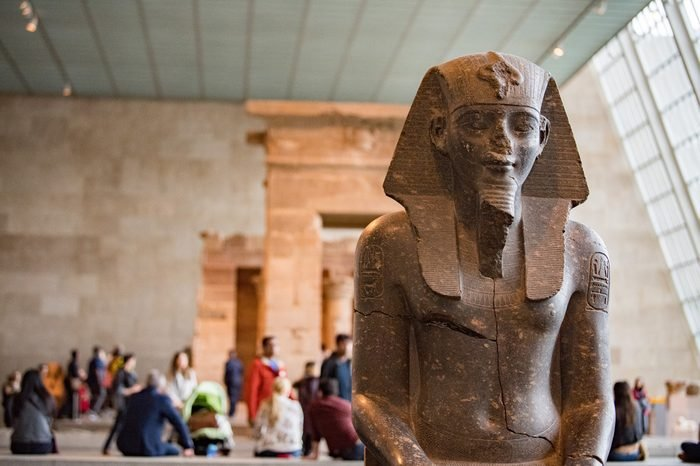 NEW YORK, USA - APRIL 22 2017 - In honor of the temple's 50th anniversary at The Met, visitors can view a digital project that restored color on one wall of the Temple of Dendur