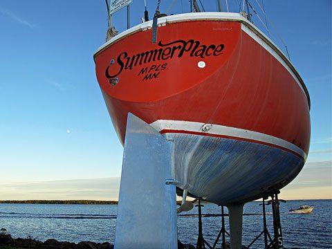 Boat in dry dock, Lake Superior