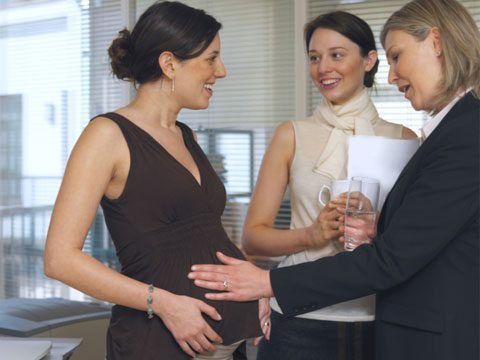HR secrets pregnant businesswoman