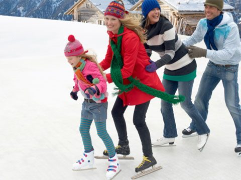 Sneak in Holiday Exercise family ice skating
