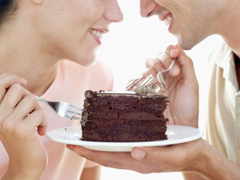 4. Or, share your serving of chocolate cake and buttercream icing with someone special. Calories saved: 115