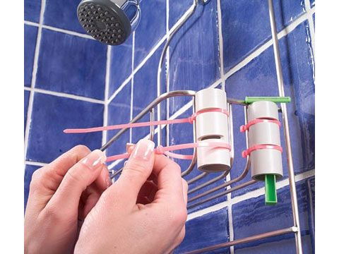 2. Use PVC piping to hold razors