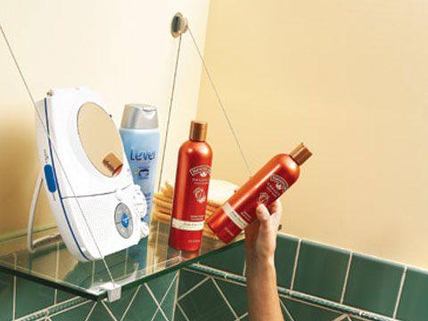 4. Store shower supplies on a handy shelf