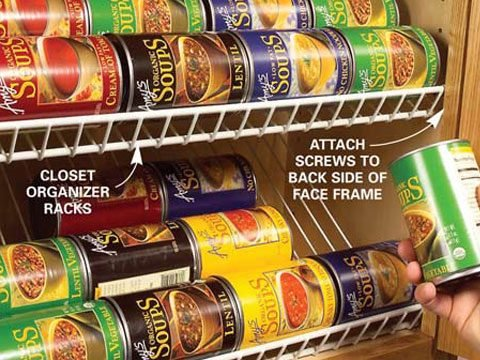 1. Use wire closet racks in kitchen cabinets.