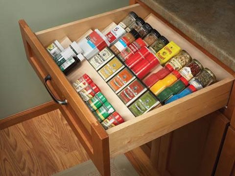5. Organize spices with angled shelving.