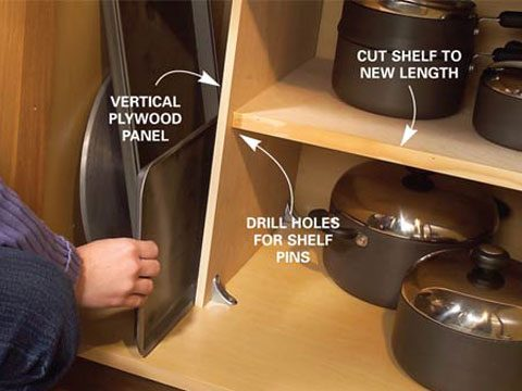 7. Use plywood panels to organize pots and pans.