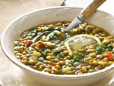 """The recipe for Lemony Lentil & Chard Soup on page 173 seems to be missing a liquid. Help!"""