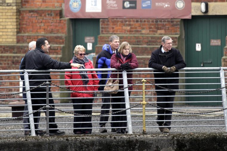 Visitors at the Thompson dry Dock, where the famed Titanic passenger liner was painted and launched, the area is situated close to the new £100 million Titanic Vistor Centre