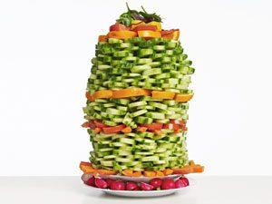 Salad bar stacking