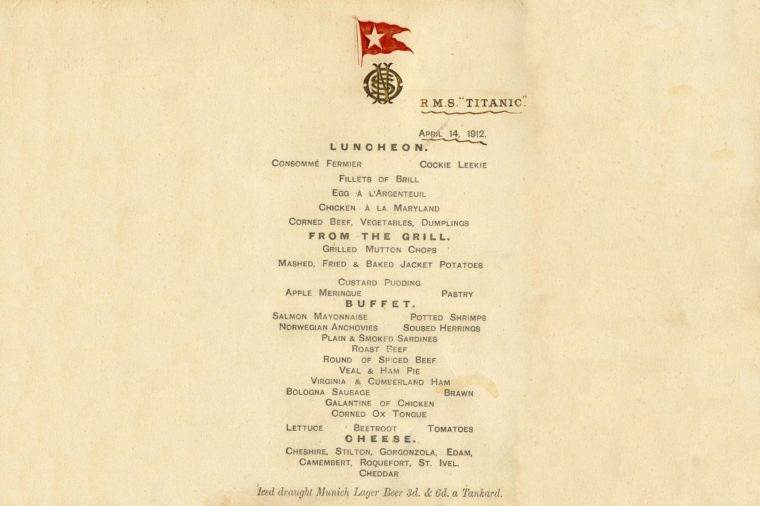 Titanic final lunch menu card from day ship sank to be auctioned, Wiltshire, Britain - 17 Feb 2012