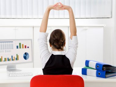 tricks to calm workplace chaos stretching