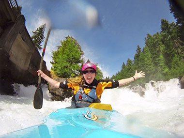 Kayak over a waterfall
