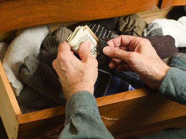 safety strategies, money sock drawer