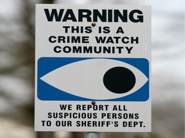 safety strategies crime watch sign