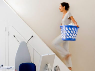 Can you: Carry a large basket of clothing up and down two staircases, without struggle or strain?
